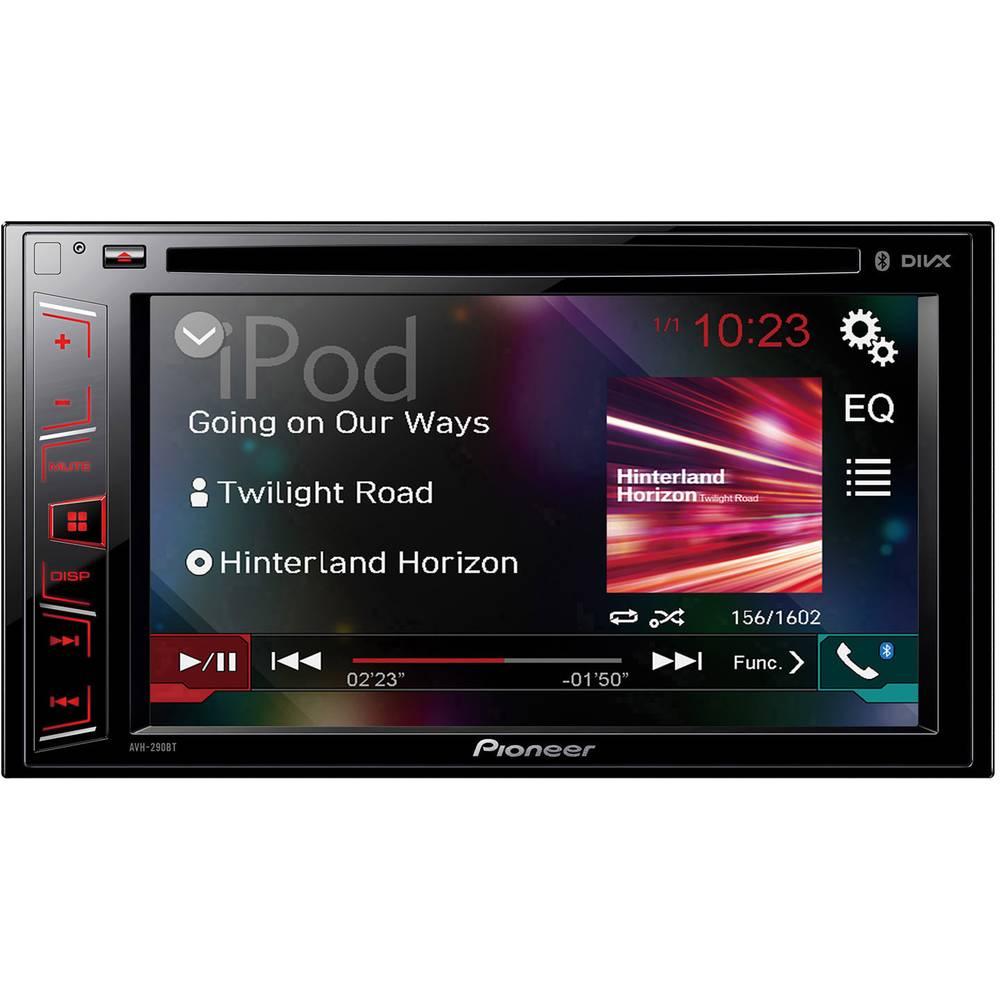 Dobbelt-DIN Moniceiver Pioneer AVH-290BT Håndfrit Bluetooth®-system, Tilslutning til ratbetjening, Tilslutning til bagkamera