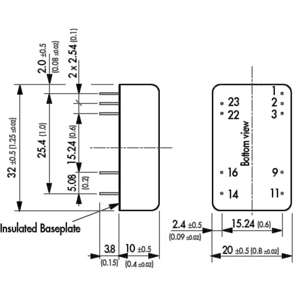 TracoPower TEN 8-2423 DC/DC converter (print) 24 Vdc 15