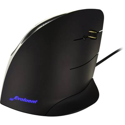 Image of Evoluent Vertical Mouse Corded Right Hand Corded Ergonomic mouse Optical Ergonomic Black, Silver