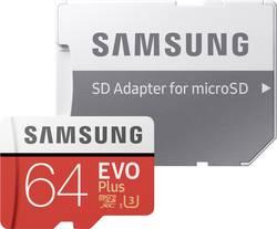 MicroSDXC-kort Samsung EVO Plus Class 10, UHS-I, UHS-Class 3 64 GB inkl. SD-adapter