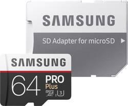 MicroSDXC-kort Samsung PRO Plus Class 10, UHS-I, UHS-Class 3 64 GB inkl. SD-adapter