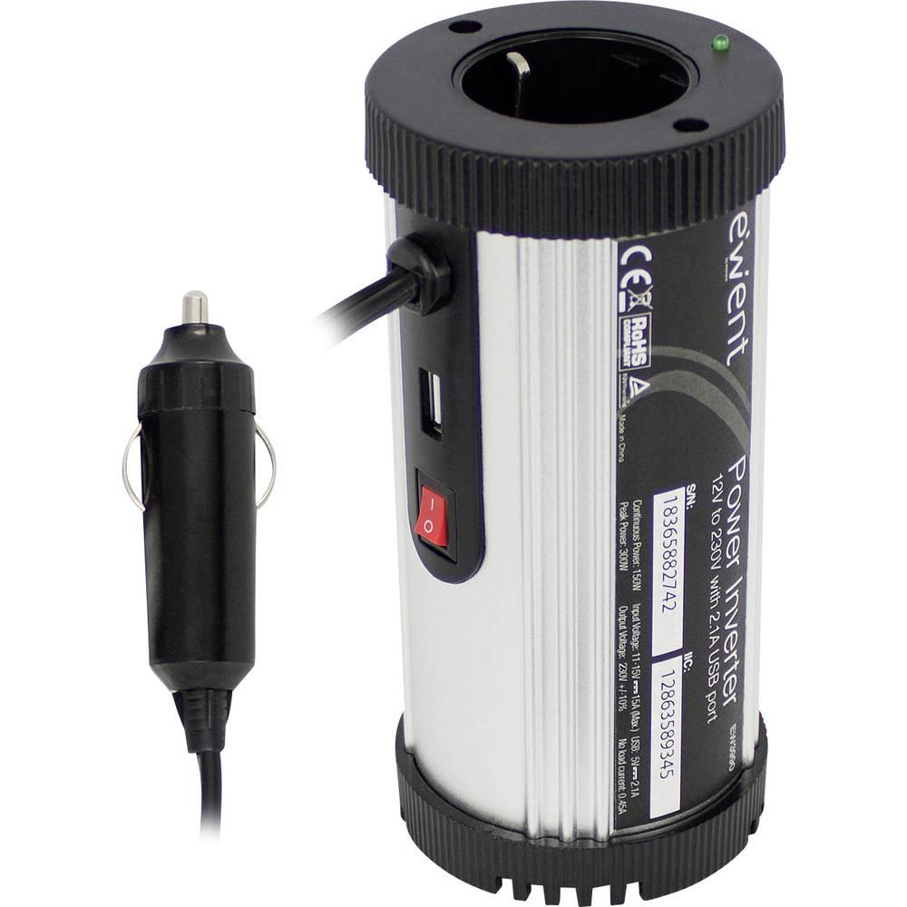 Inverter ewent by Eminent EW3990 150 W 12 V/DC Dåseformet til kopholder Cigarettænder-stik Jordstik, USB-tilslutning