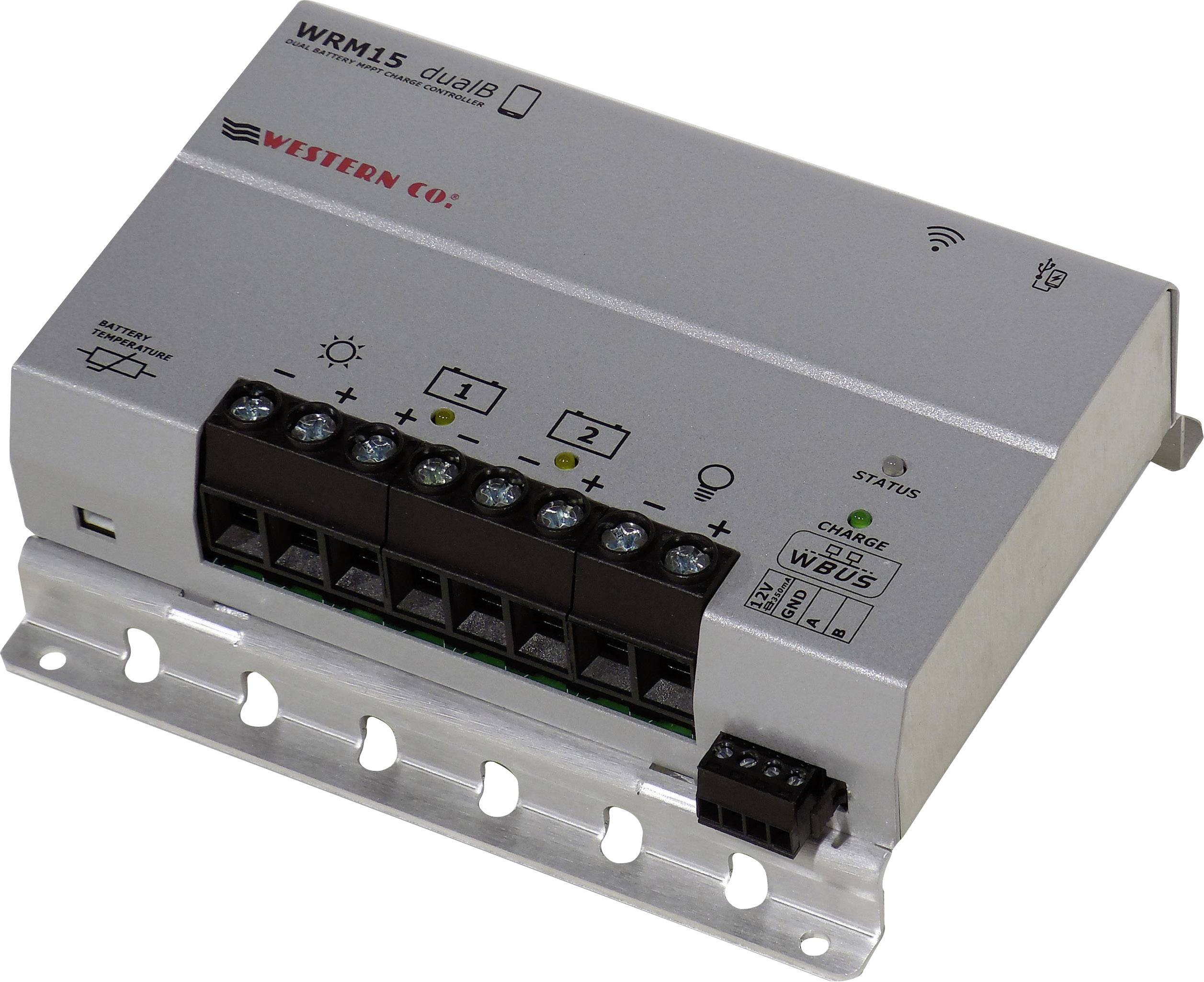 Solar Charge Controller MPPT Western WRM15 Dual Battery with Bluetooth