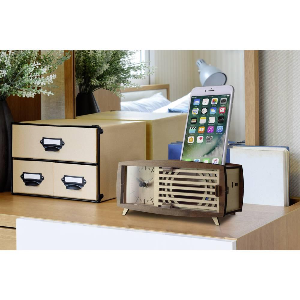 Quartz Desk clock assembly kit Rectangular Basetech Brown