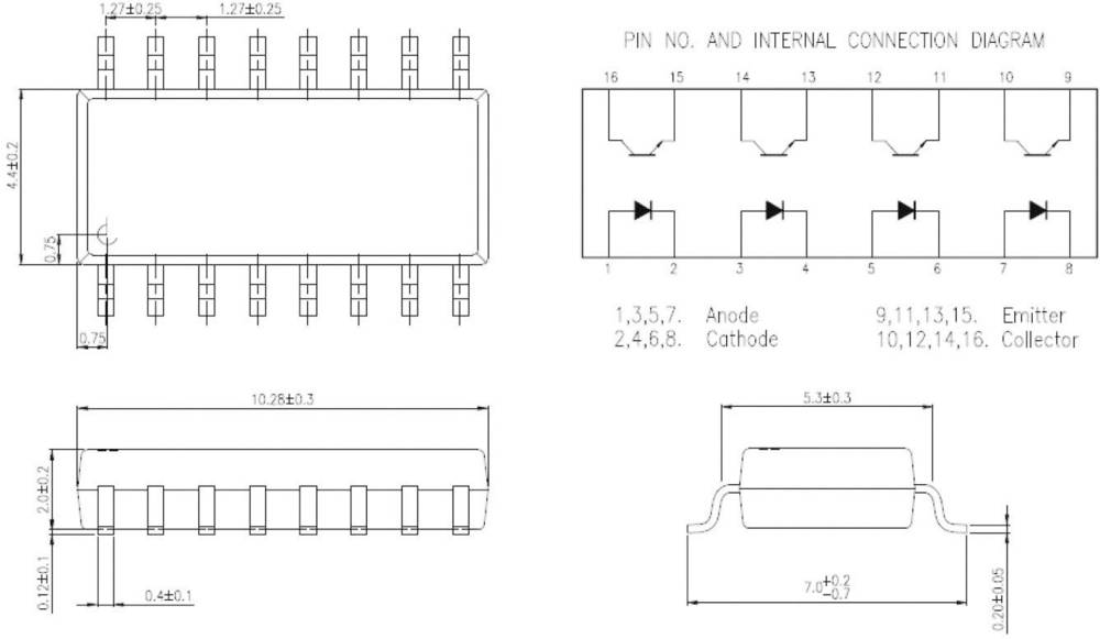 Isocom Components IS281-4GB-Optospojnik, ohišje: DIL 16, SMD, izvedba: 4-kanalni