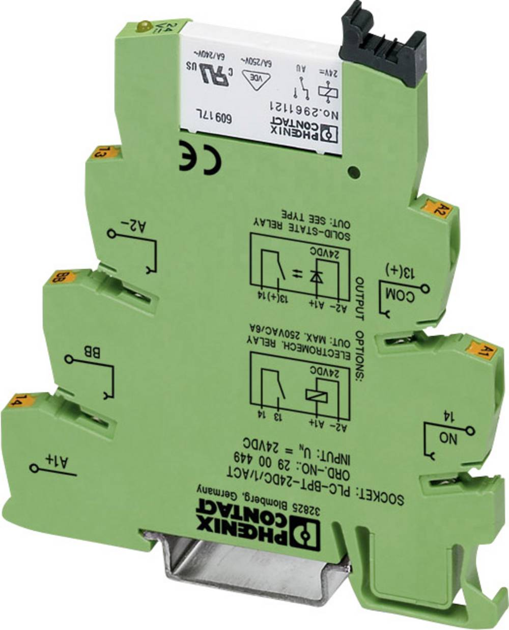 Interfacerelæ 10 stk 24 V/DC 50 mA 1 x sluttekontakt Phoenix Contact PLC-RSC- 24DC/ 1AU/SEN
