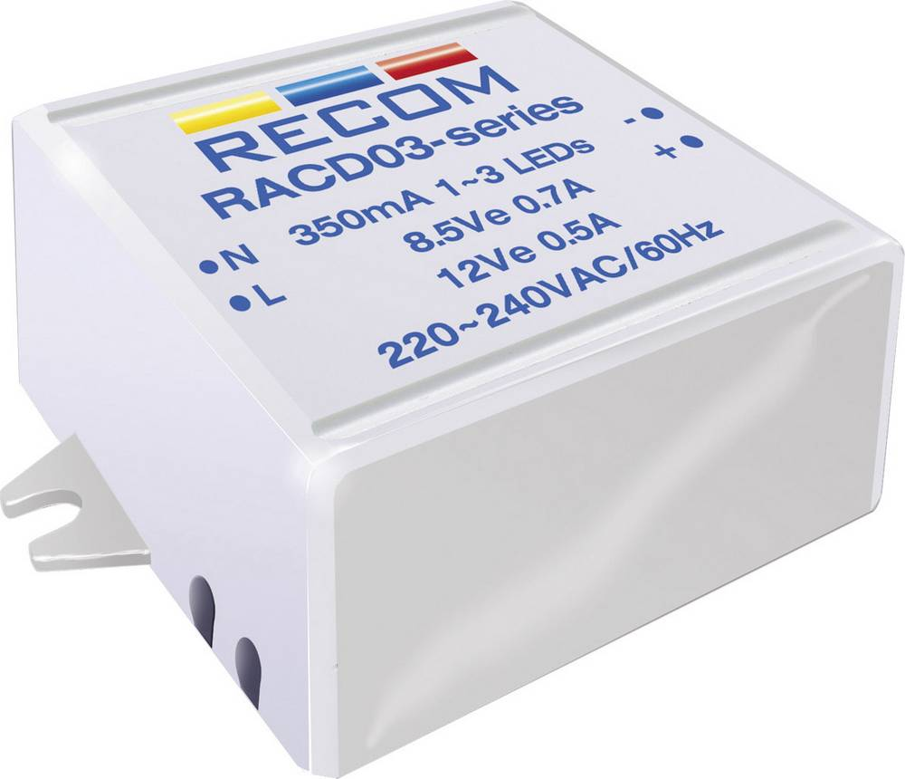 LED napajalnik s konstantnim tokom 3 W 700 mA 4.5 V/DC Recom Lighting RACD03-700 delovna napetost maks.: 264 V/AC