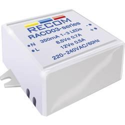LED napajalnik s konstantnim tokom 3 W 350 mA 12 V/DC Recom Lighting RACD03-350 delovna napetost maks.: 264 V/AC