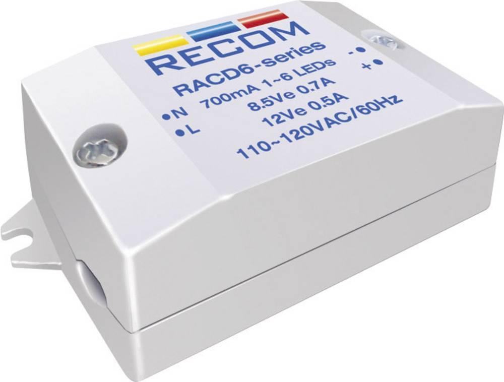 Konstant LED-strømkilde 6 W 700 mA 8.4 V/DC Recom Lighting RACD06-700 Driftsspænding maks.: 264 V/AC