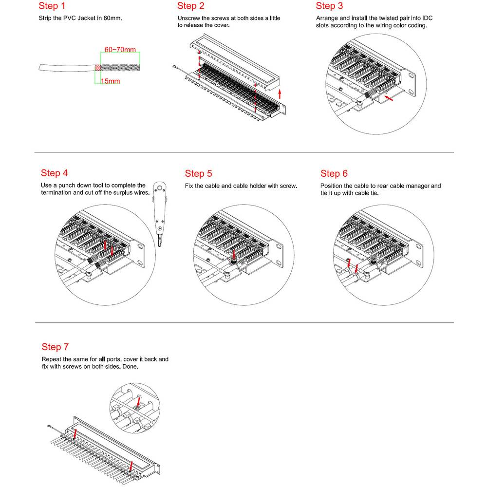 24 Ports Network Patch Panel Renkforce Ksv 24pl Cat 6 1 U From Diagram Further 48 Port On 5 Punch Wiring