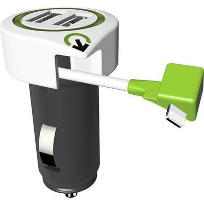 Image of Q2 Power 3.100120 3.100120 USB charger Car, HGV Max. output current 3100 mA 3 x USB, Apple Dock lightning plug