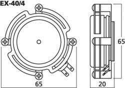Monacor EX-40/4 Exciter speaker 40 W 4 Ω Metal, Black 1 pc(s