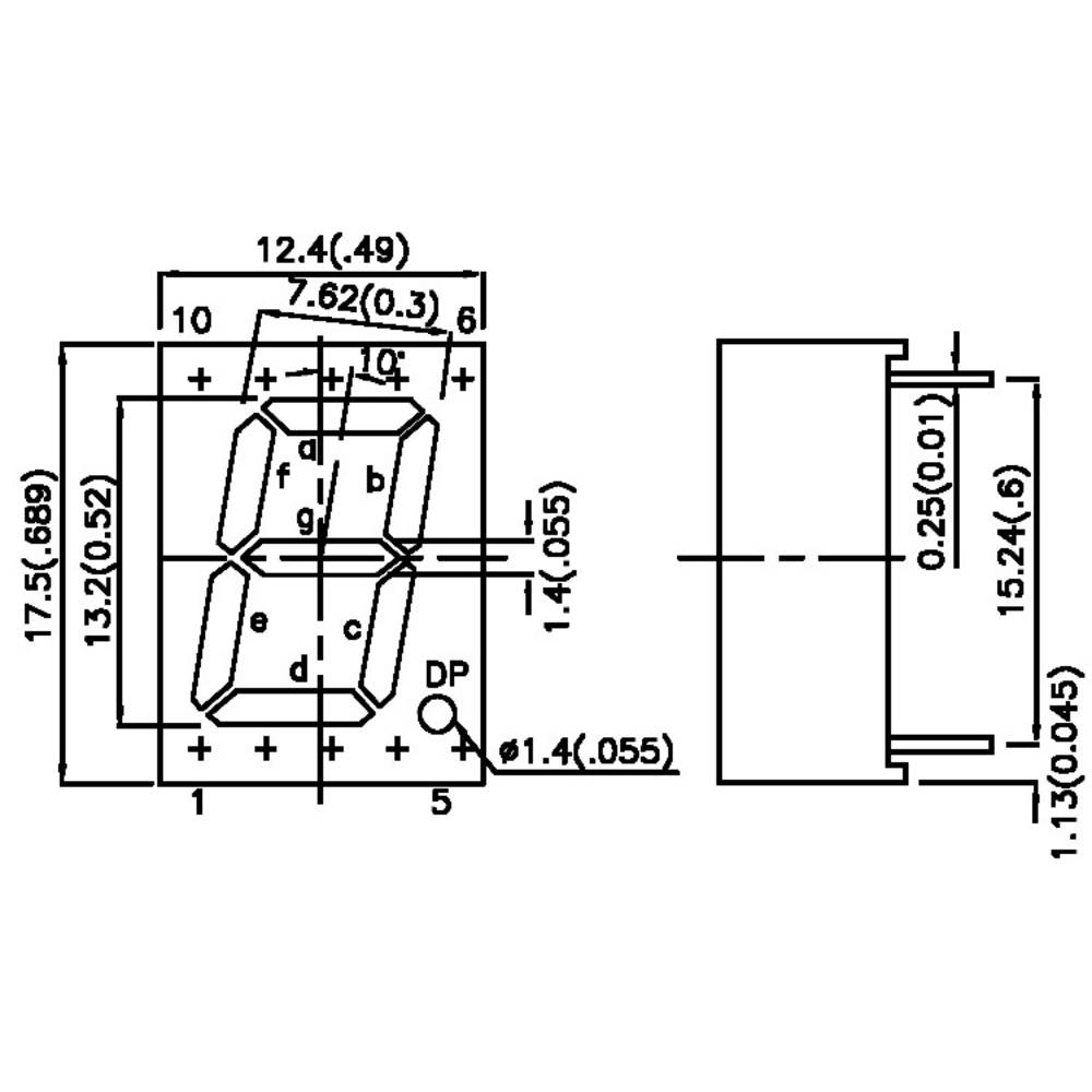 Seven Segment Display Red 13 Mm 2 V No Of Digits 1 From 7 Circuit Diagram