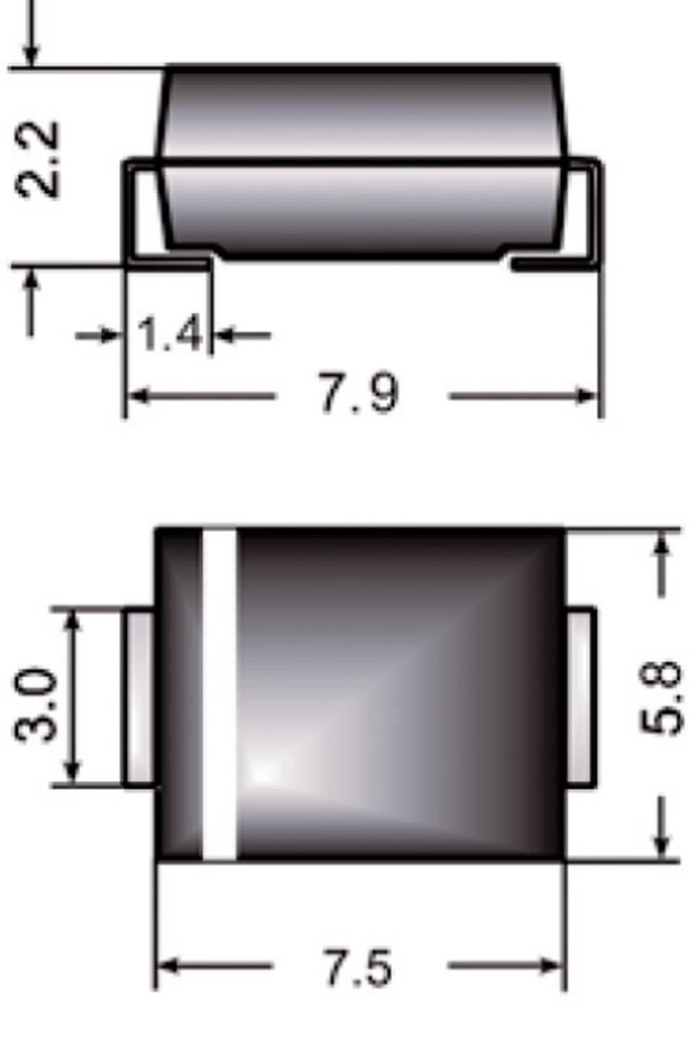 Zener dioda Z3SMC12 vrsta kućišta (poluvodič) DO-214AB Semikron Zener-napon 12 V snaga max. P(tot) 3 W