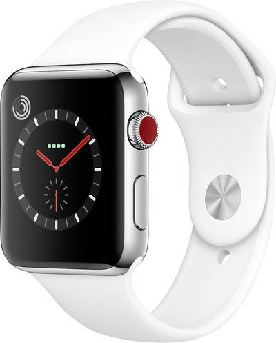 Apple Watch Series 3 Cellular 42 mm Stainless steel Steel Sport strap White cheapest retail price