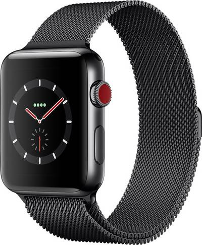 Apple Watch Series 3 Cellular 42 mm Stainless steel Space Black Mesh-metal strap Space Black cheapest retail price
