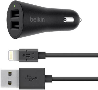Compare cheap offers & prices of Belkin 2.4 A Dual Car Charger with Lightning Cable - Black manufactured by Belkin