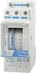 Timer til DINskinne Driftsspænding (num): 230 V/AC ORBIS Zeitschalttechnik INCA DUO D 1 x skiftekontakt 16 A 250 V/AC
