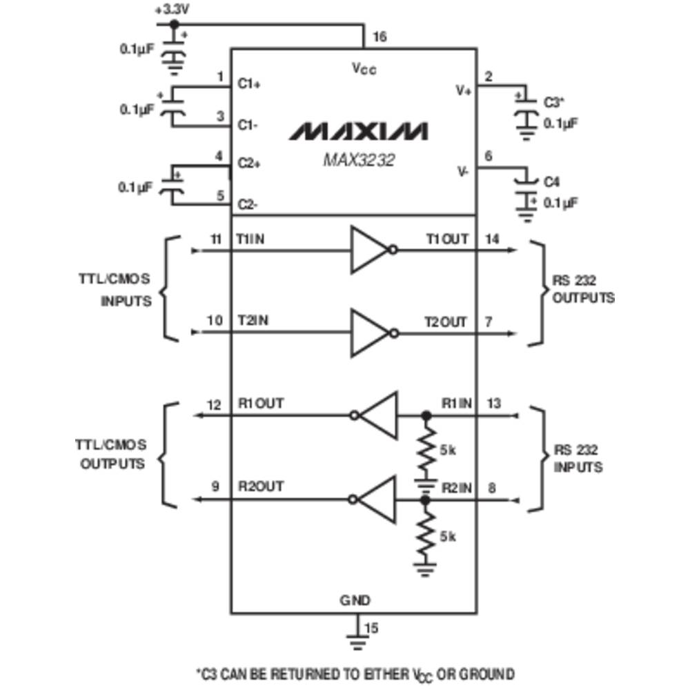 Interface Ic Transceiver Maxim Integrated Max3232cpe Rs232 2 Schematic Pdip 16