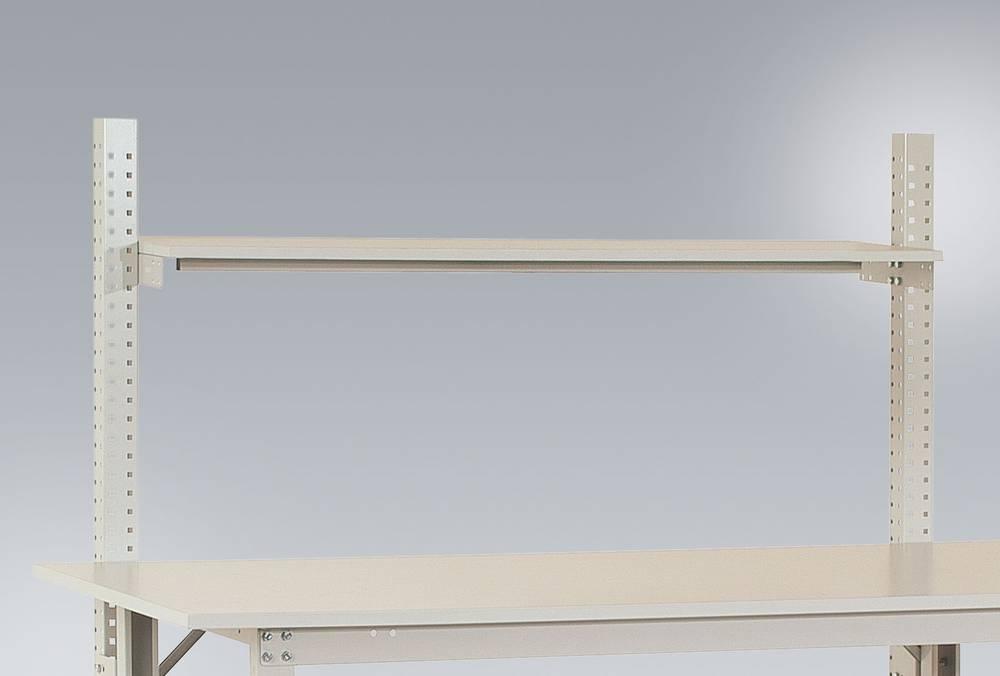 Hylla (melamin ljusgrå 1500x 350x19mm, med balk för PACKBORD 1750mm utan bygel Manuflex (AS1252.7035)