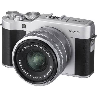 System camera Fujifilm X-A5 XC15-45 mm Battery 24.2 MPix Silver Full HD Video