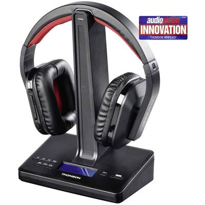 Thomson WHP5407 Cordless (1075099) TV Headphones Over-the-ear Volume control, DAB+ radio Black, Red