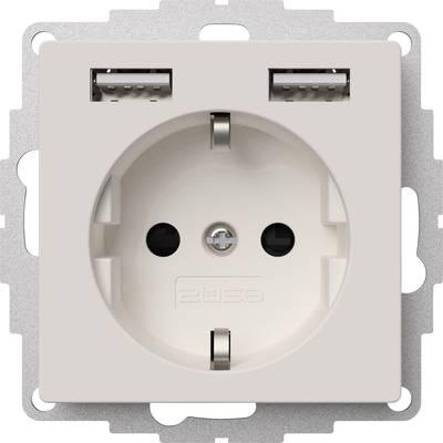 2USB 2U-449337 Flush-mount socket VDE, incl. USB, Child safety IP20 Pure white, Matt