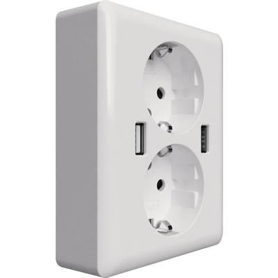 Image of 2USB 2U-449238 2x Flush-mount socket incl. USB IP20 White
