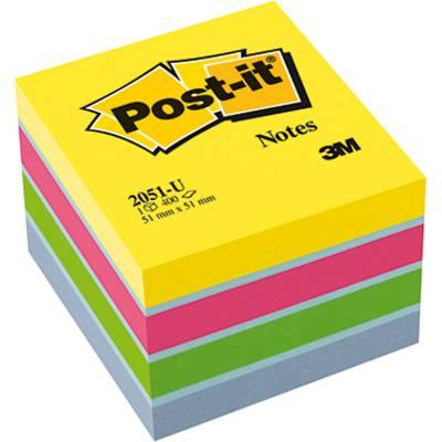 Image of Post-it Sticky note pad 2051-U 51 mm x 40 mm Ultra blue, Ultra yellow, Ultra green, Ultra pink 400 sheet