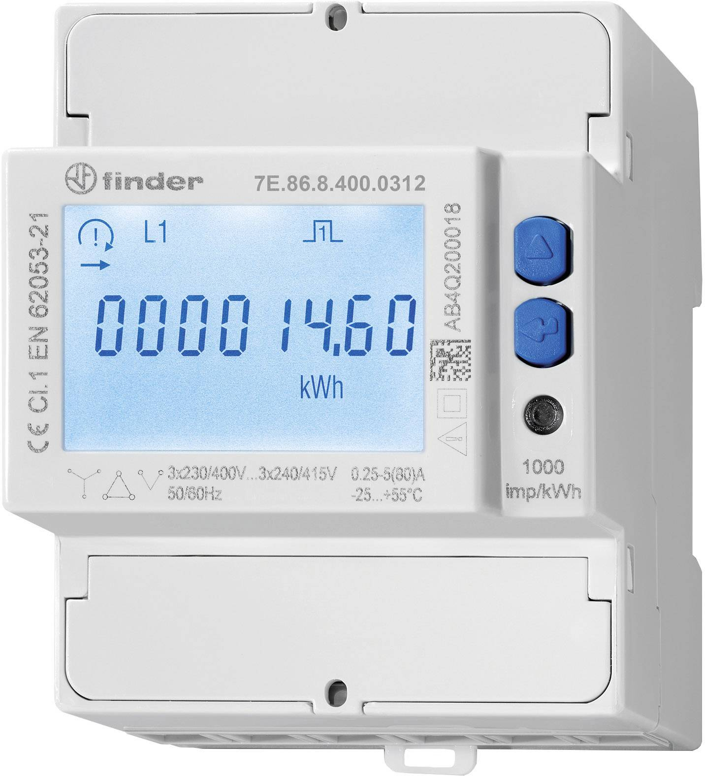 Finder 7E 86 8 400 0212 Electricity meter (3-phase) incl