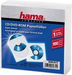 Hama CD/DVD paper sleeves, Pack of 100, white