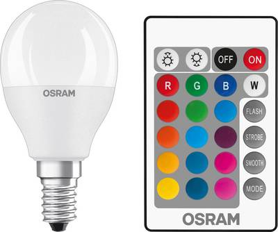 Image of OSRAM LED E14 Droplet 5.5 W = 40 W RGBW (Ø x L) 47 mm x 91 mm EEC: A+ dimmable, incl. remote control, colour-changing 1