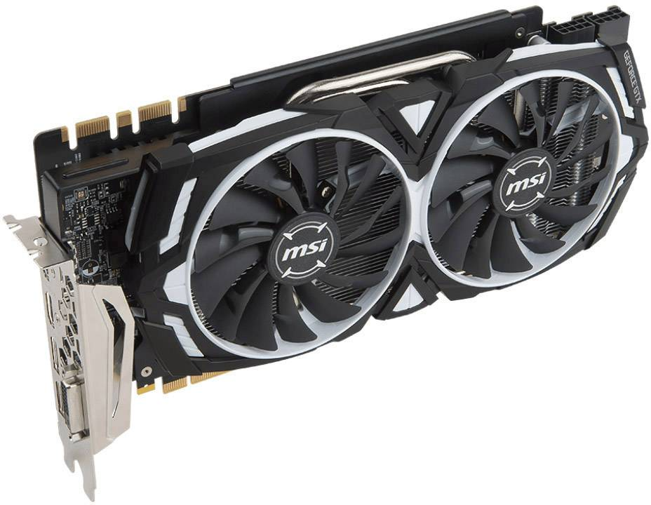 MSI Gaming GPU Nvidia GeForce GTX1080 Ti Armor Overclocked 11 GB GDDR5X RAM  PCIe x16 HDMI™, DisplayPort, DVI