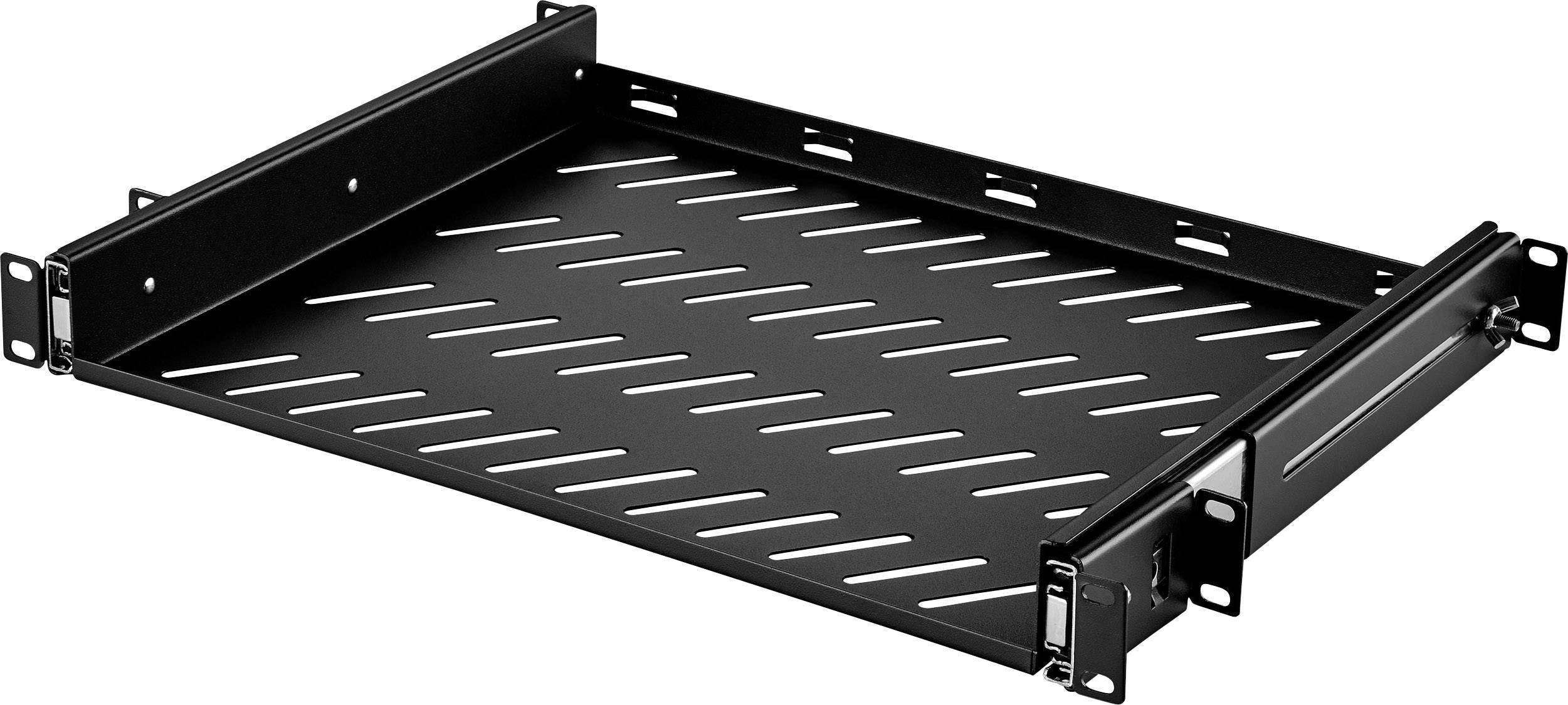 Black Rack Shelf 508 mm Steel 19 Inch 17.5 20 RASU190720BK1 Unvented RASU190720BK1 Cabinet Racks 4U 445 mm
