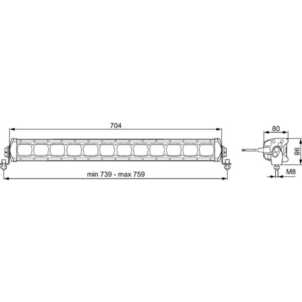 Hella Valuefit Lightbar Lbx 720 Led 1gj 360 003 002 Working Light 12 Rear Tail Wiring Diagram 210 V 24 Long Range Illumnination W X H D 739
