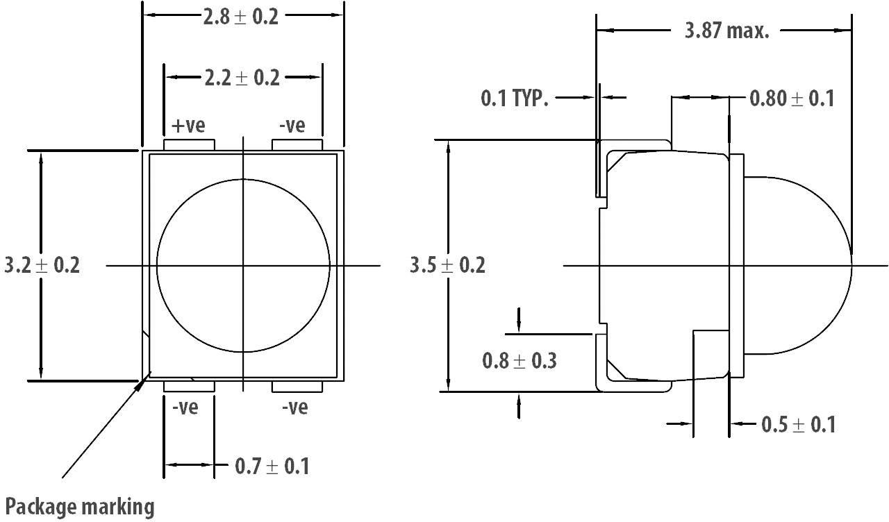 3.9 V SMD 525 nm Green 5 X LED 30 mA