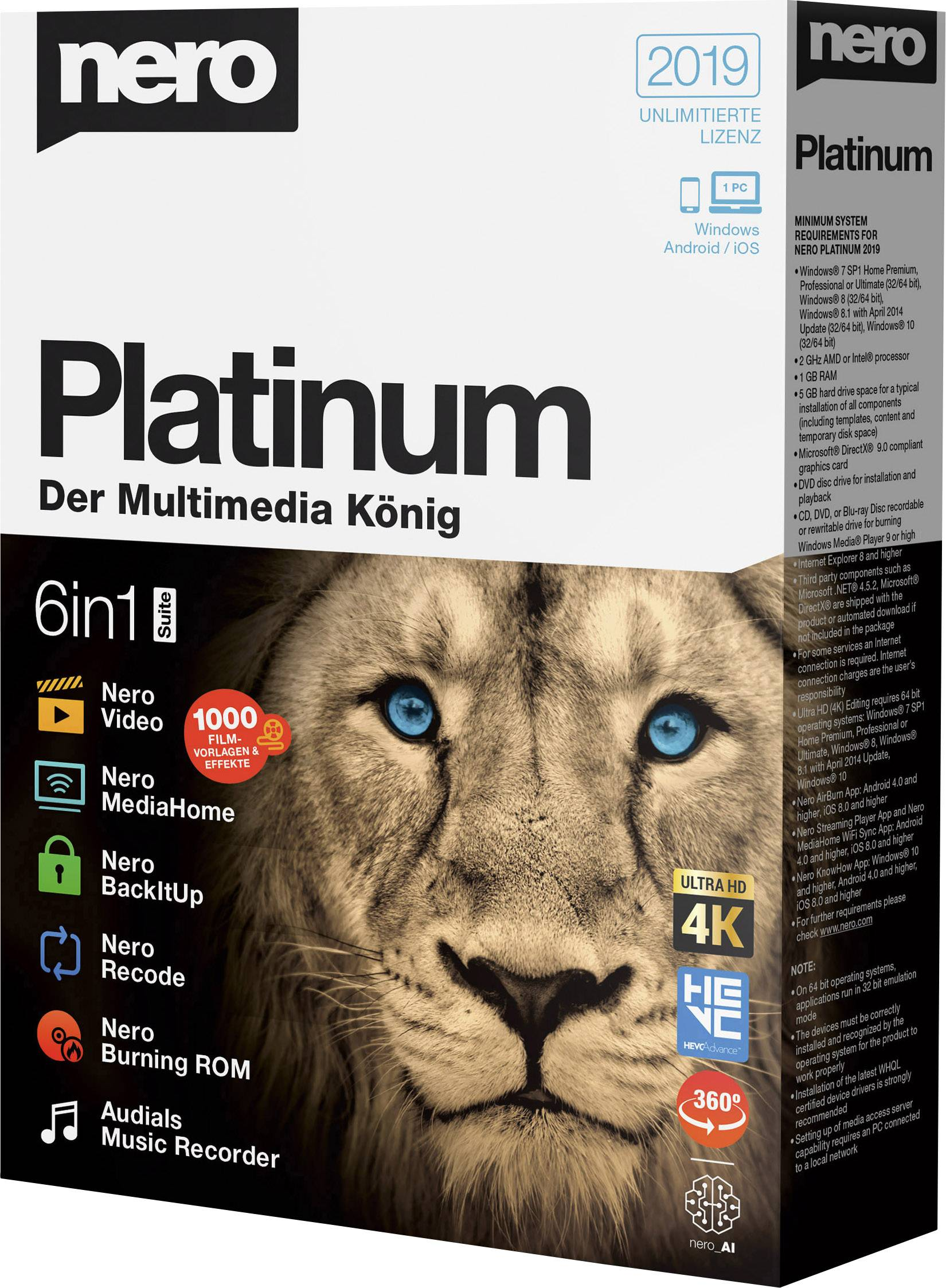 nero platinum suite is a 1-year licence