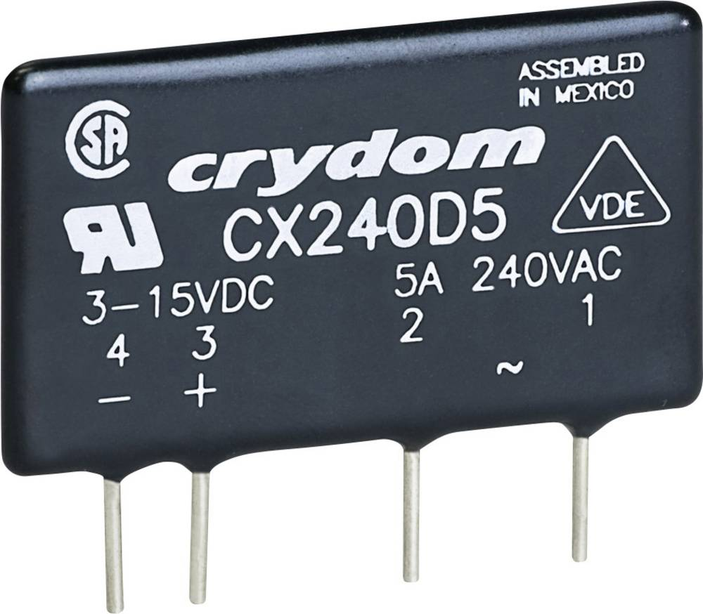 Halvlederrelæ 1 stk Crydom CX240D5 Last-Strøm (maks.): 5 A Koblingsspænding (max.): 280 V/AC Vekslende ved nulspænding