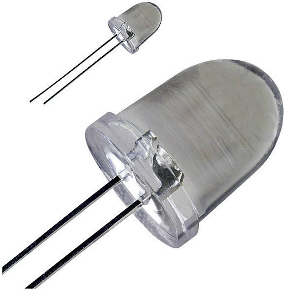 Ožičana LED dioda, bijela, okrugla 10 mm 80000 mcd 20 ° 30 mA 3.6 V LED-10-80.000W