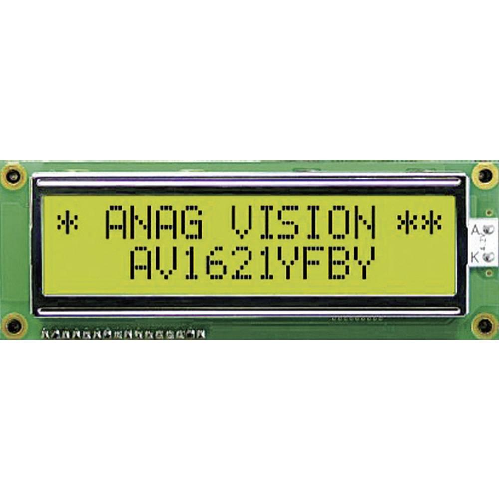 LC-display Anag Vision AV1611YFBY-WJ (B x H x T) 122 x 33 x 13.5 mm Grøn Gulgrøn