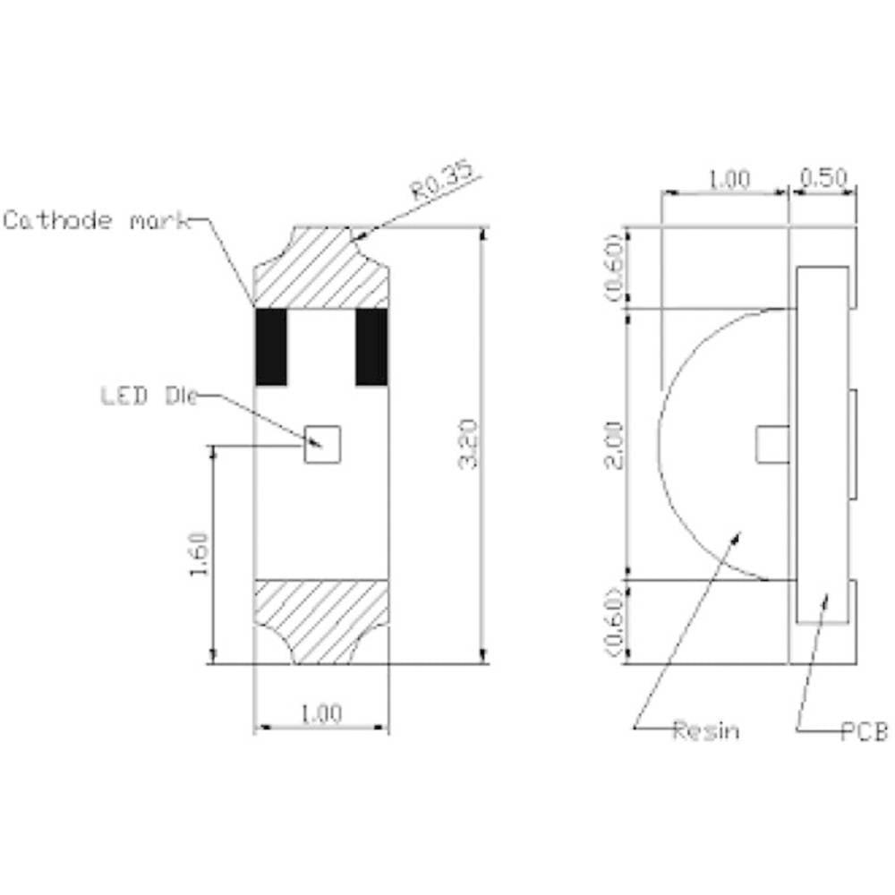 IR-emitter Harvatek 850 nm 140 ° 1204 SMD