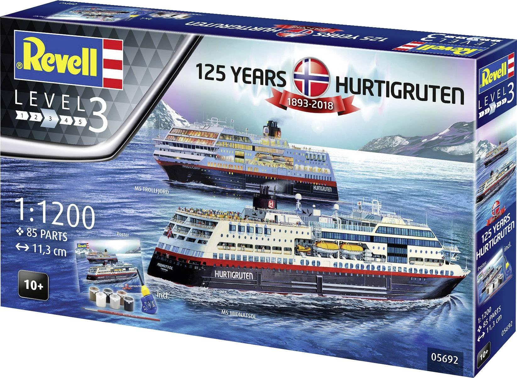 Ship Model Kit 05692 Scale 1:1200 Revell Hurtigruten 125th Anniversary
