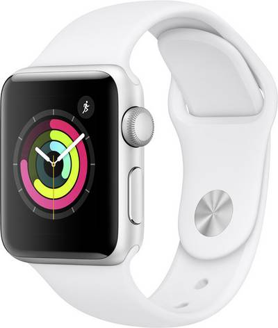 Apple Watch Sport Series 3 38 mm Aluminium Silver Sport strap White cheapest retail price