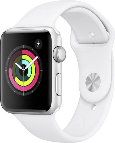 Apple Watch Sport Series 3 42 mm Aluminium Silver Sport strap White cheapest retail price