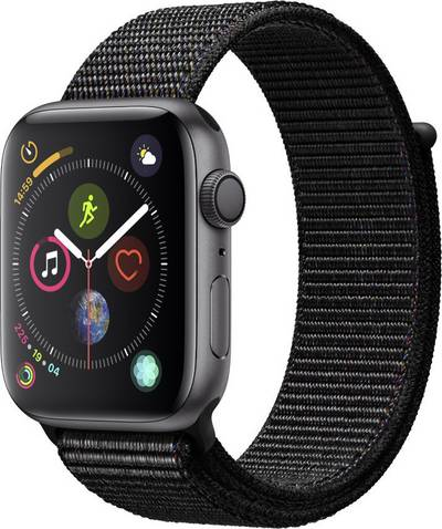 Apple Watch Sport Series 4 44 mm Aluminium Spaceship grey Sport strap Black cheapest retail price