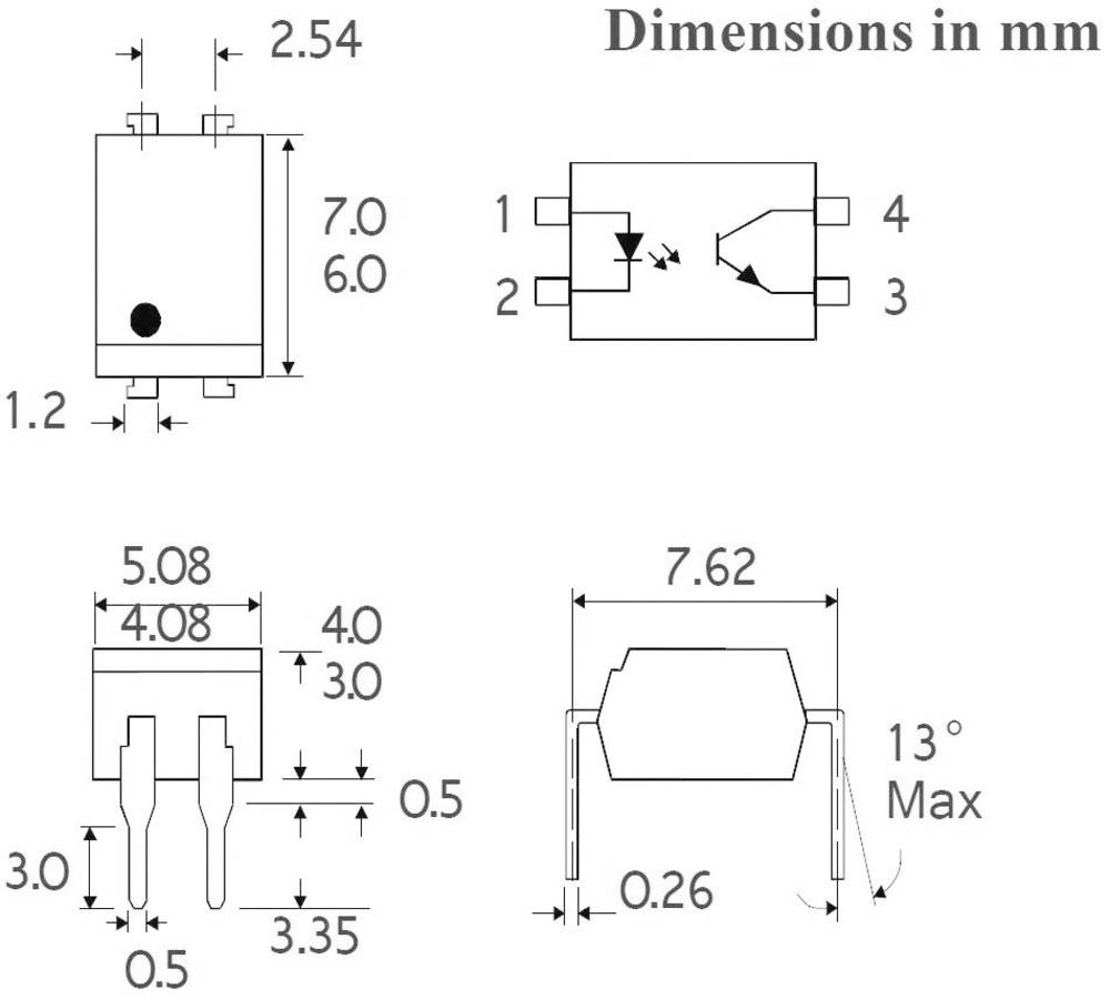 Isocom Components ISP817CXSMT/R-Optospojnik, kućište: DIL 4,SMD, fototranzistor/Single