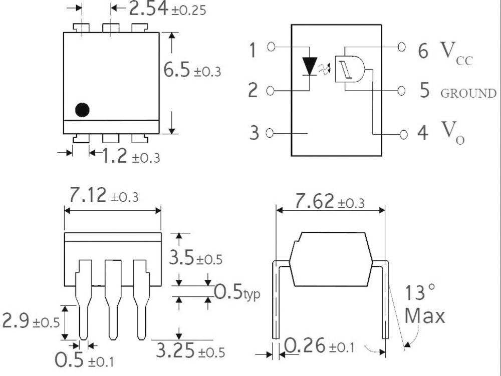 Isocom Components H11L1SMT/R-Optospojnik, ohišje: DIL 6, SMD, Schmittov sprožilec