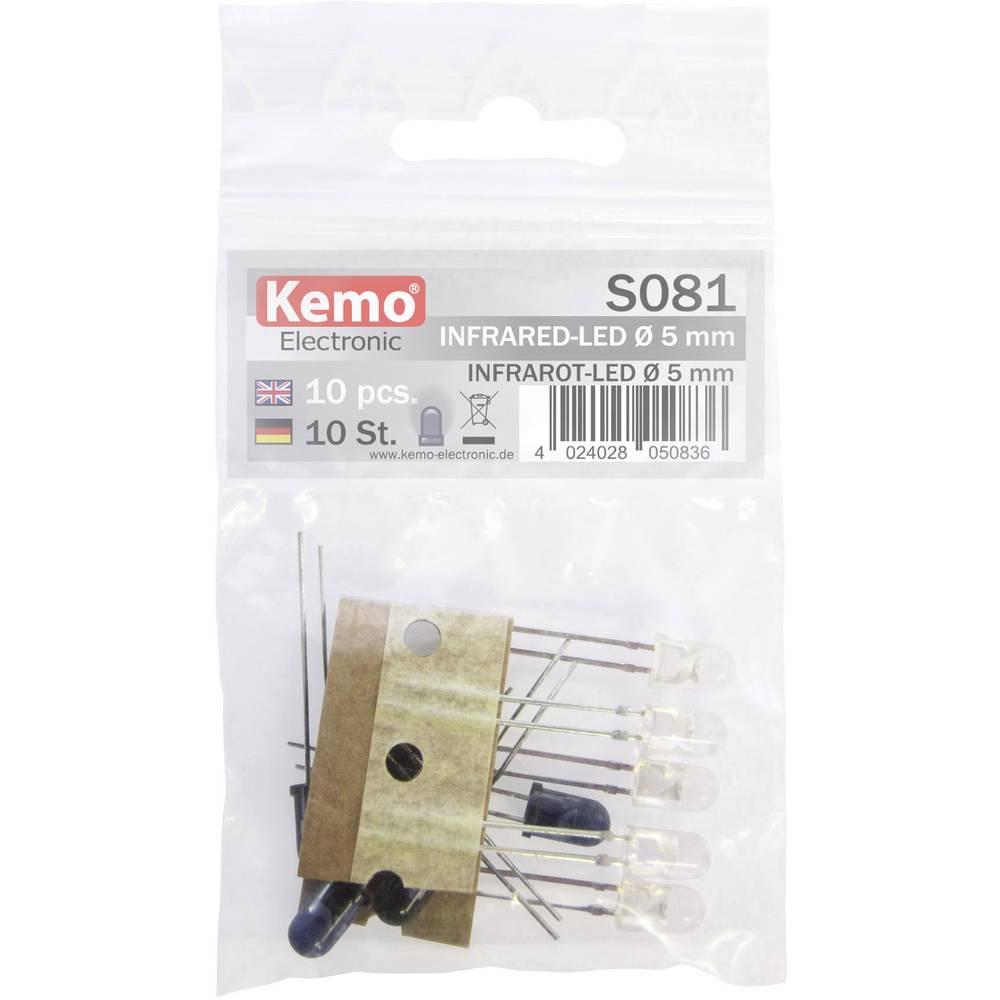 Asortima IR-LED diod 870 nm, 925 nm 5 mm radialno ožičene Kemo S081