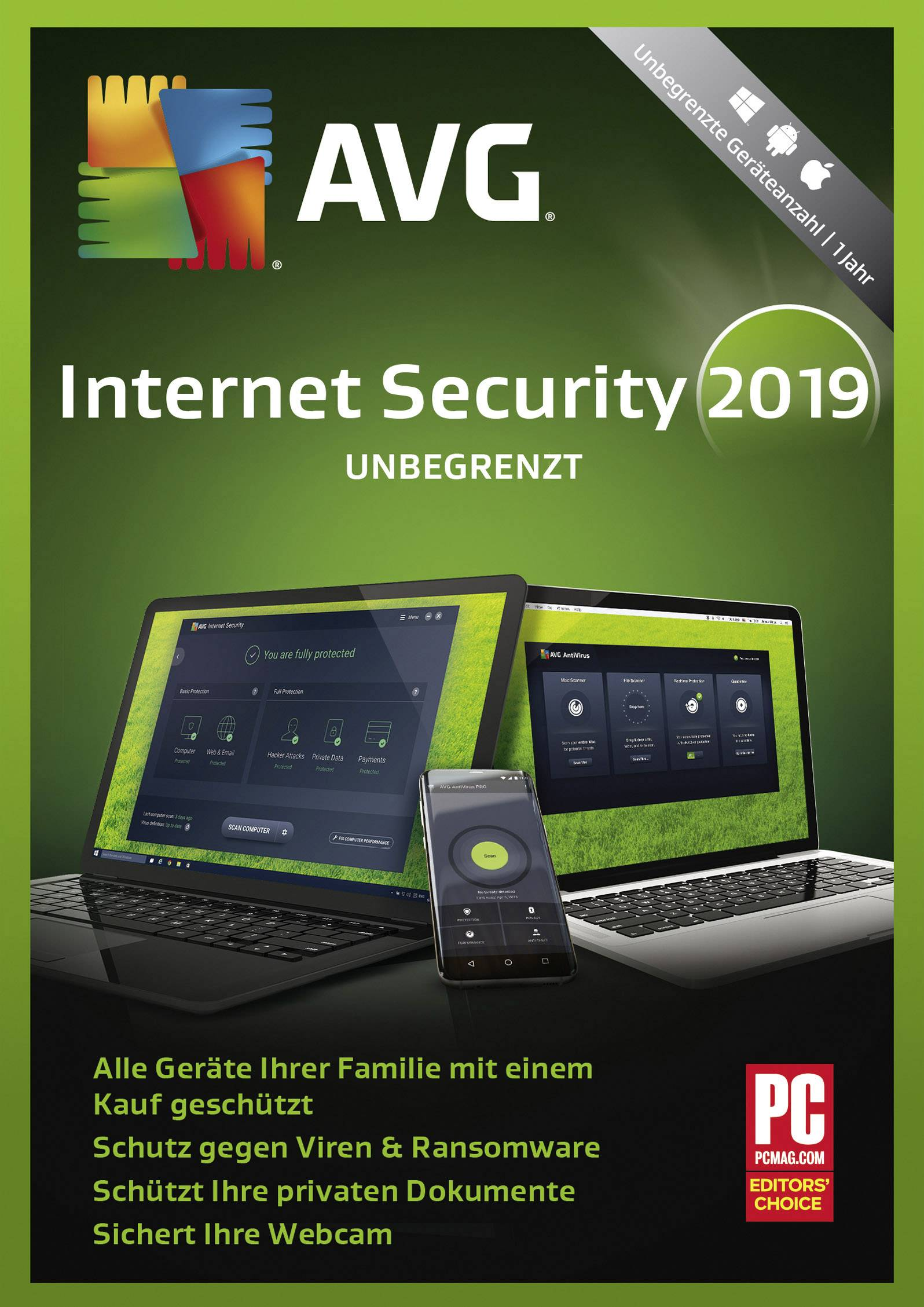 1 PC 1 Year AVG Antivirus 2019-1 User Windows