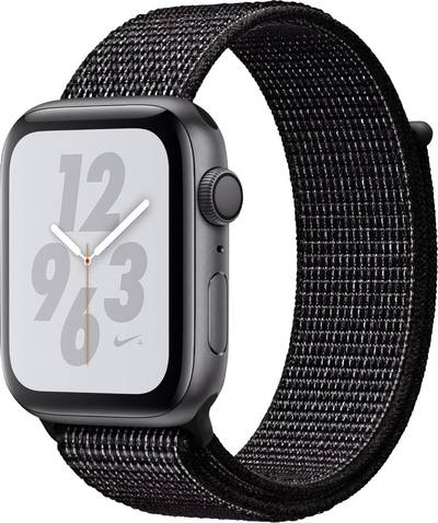 Apple Watch Series 4 Nike+ 44 mm Aluminium Spaceship grey Sport strap Black cheapest retail price